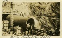 Lower Baker River dam construction 1925-05-22 Setting Penstock Pipe