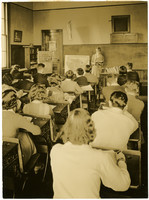 Classroom of high school history students and teacher
