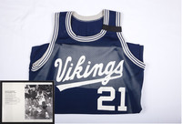 Basketball (Men's) Jersey:  #21, Manny Kimmie, photograph of Manny Kimmie, list of accomplishments, 1990