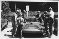 1985 Students Looking at Viking Car
