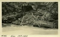 Lower Baker River dam construction 1924-11-19 Damaged railroad trestle
