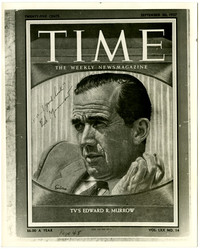 """Photograph of """"Time"""" magazine September 30, 1957 cover featuring Edward R .Murrow"""