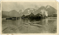 View from water at King Cove, AK, of docks with cannery buildings, mountains in background