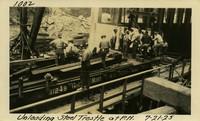 Lower Baker River dam construction 1925-07-21 Unloading Steel Trestle at P.H.