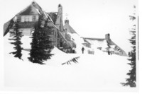 Mt. Baker Lodge covered in snow
