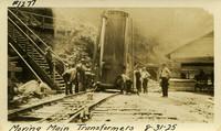 Lower Baker River dam construction 1925-08-31 Moving Main Transformers