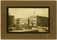 Large crowd and horse-drawn wagons gathered on Holly Street outside the YMCA, Bellingham, WA