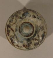Sawankhalok ware lidded box with iron brown design of scrolls on lid