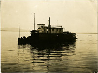 Sternwheel-driven steam ship and dinghy on Bellingham Bay