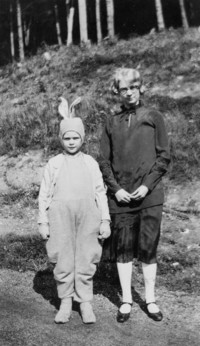 1925 Training School Student in Rabbit Costume with Older Student