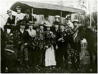 1900 Fairhaven High School graduates - eleven high school students and two teachers pose with floral bouquets in celebration of graduation