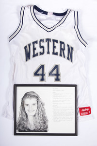 Basketball (Women's) Jersey and Photograph: #44, Gina Sampson photograph with list of accomplishments, 1994/1996