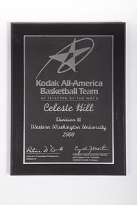 Basketball (Women's) Plaque: Kodak All-America Team, NCAA Division 2, Celeste Hill, 2000