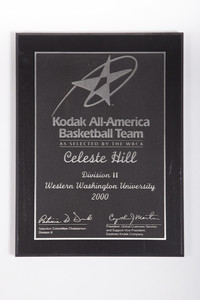 Basketball (Women's) Plaque: Kodak All-America Team, NCAA Division 2, Celeste Hill, 2000