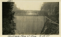 Lower Baker River dam construction 1925-09-14 Upstream Face of Dam