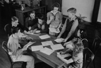 1942 Ninth Grade Students Work Together (Class 9-A)