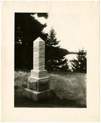 British Camp, San Juan Island - Burial monument overlooking water through trees