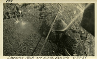 Lower Baker River dam construction 1925-06-27 Cleaning Rock off E. Side Dam Site