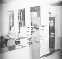 1960s Nancy Smith, Mary Irvin and Robert Simpson in Campus School Office