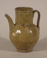 Wine ewer with strap handle with curved spout, two small loop handles at shoulder