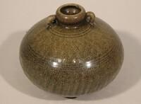 Sawankhalok ware jar with globular body and two small loop handles at neck