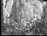 Twenty-nine men and one dog pose in front of old-growth cedar tree
