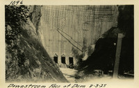 Lower Baker River dam construction 1925-08-03 Downstream Face of Dam
