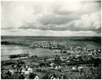 View of downtown Bellingham, waterfront, and bay from Sehome Hill