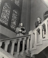 1947 Library: Students on Stone Steps