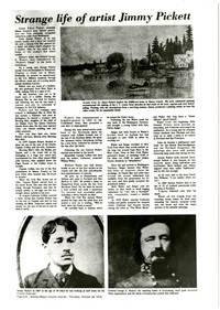 """Photocopy of article on life of Jimmy Pickett with photographs of Jimmy and General George Pickett, and one of his paintings """"Arcadia Point"""