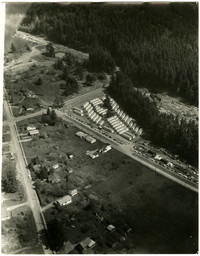 Aerial view of the construction of Fairhaven College at Western Washington University.