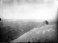 Aerial view of unidentified mountain ridges
