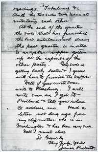 Copy of a letter sent by Jimmy Pickett to his foster-mother