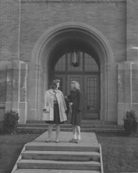 1943 Campus School Building Main Entrance With College Students