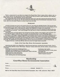 Great Blue Heron Environmental Association Membership letter
