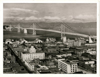 View from above of Oakland, CA, and San Francisco - Oakland Bay Bridge, looking west towards Yerba Buena Island