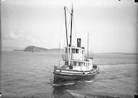 """Front-portside view of the steam tender """"Rodoma"""" with man standing on foredeck"""