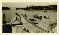 Docks and warehouses of waterfront community on one of the San Juan Islands