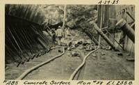 Lower Baker River dam construction 1925-04-29 Concrete Surface Run #88 El.255.8