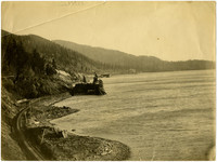 Great Northern Railway tracks along shore south of Poe's Point, south Bellingham, WA
