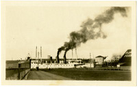 """Steam vessels """"Chippewa"""" and """"iriquois"""" seen from end of long dock"""