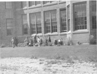 1943 Students Work On Plantings Outside New School