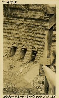 Lower Baker River dam construction 1925-05-02 Water Thru Spillway