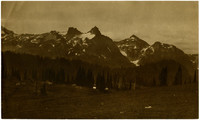 Camping scene in mountains (probably North Cascades)
