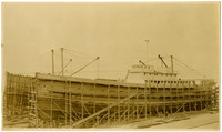Two ships under construction at the Pacific American Fisheries shipyard