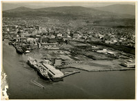 Aerial view of Bellingham waterfront and downtown prior to establishment of Georgia Pacific Pulp Mill in the early 1960'