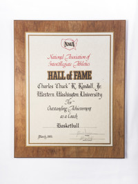 "Basketball (Men's) Plaque: NAIA Hall of Fame, Charles ""Chuck"" R. Randall, Jr, 1985"