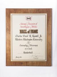 "Basketball (Men's) Plaque: NAIA Hall of Fame, Charles ""Chuck"" R. Randall, Jr, 1985"