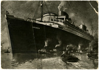 "Postcard advertising the huge steamship passenger liner ""Bremen"" with several tug boats in surrounding water"