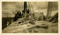 S.S.A.G. Lindsay - April 1911. Near Sand Point. View from stern of ice-coated deck of ship